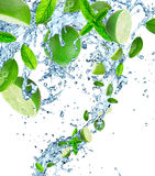 Limes and Splashing water Stock Photo