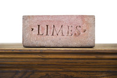 Limes stone brick on shelf Stock Images