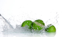 Limes with water splash Royalty Free Stock Photos