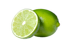 Limes on white with clipping path Stock Image