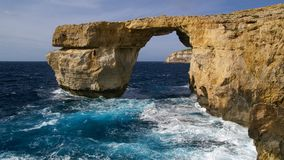 Azure Window, Gozo, Malta. Limestone arch, Azure Window, in Dwerja, Gozo, Malta, just two days before its collapse. This location was used in Game of Thrones Royalty Free Stock Images