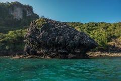 Limestone around Phi Phi island during sunny summer day Royalty Free Stock Photos