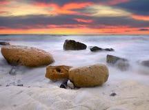 Limestone. On the beach a beautiful morning Stock Photography