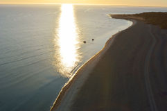 Limestone beach on the island of Gotland in Sweden, Aerial view Stock Photography