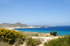 Limestone beach Mediterranean Sea Milos Stock Photos