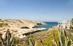 Limestone beach  Milos Cyclades Greece Royalty Free Stock Image