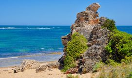 Limestone on the Beach: Point Peron, Western Australia Stock Photos