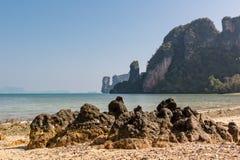 Limestone beach rocks in Koh Phak Bia, Thailand Stock Photos