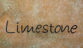 Limestone. A block of limestone carved with name Stock Photos