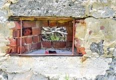Limestone and Brick Wall Detail Stock Photography
