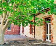 Limestone Building Exterior: Accented with Nature Royalty Free Stock Photography