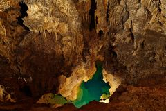 Limestone Cave. Limestone formations inside a cave Royalty Free Stock Photo