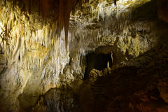 Limestone Cavern lake of stalactites at Aranui Royalty Free Stock Photo