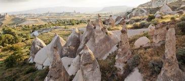 Limestone chimneys in Cappodocia Turkey Royalty Free Stock Photos