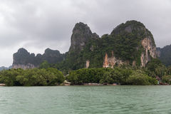 Limestone cliff of Andaman Sea islands, Phang Nga Bay,  Thailand Royalty Free Stock Photo