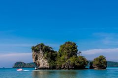 Limestone cliff in Krabi Ao Nang, Ton Sai and Phi Phi island, Thailand royalty free stock photos