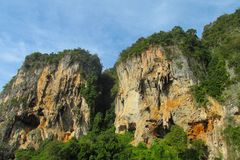 Limestone cliff in Krabi Ao Nang, Ton Sai and Phi Phi island, Thailand royalty free stock photo