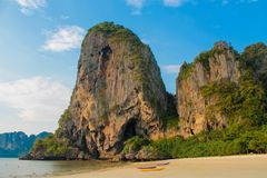 Limestone cliff in Krabi Ao Nang, Ton Sai and Phi Phi island, Thailand stock photography