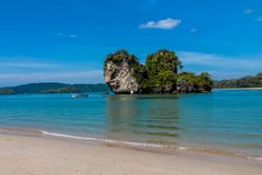 Beautiful scenic limestone island in Krabi, Thailand. Limestone cliff in Krabi, Thailand. Beautiful paradise view scenic coastline Phi Phi island and natural Royalty Free Stock Photos