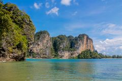 Limestone cliff in Krabi Ao Nang, Ton Sai and Phi Phi island, Thailand stock images
