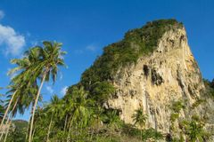 Limestone cliff in Krabi Ao Nang, Ton Sai and Phi Phi island, Thailand royalty free stock photography