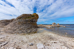 Limestone cliff on the rocky coast of Gotland, Sweden Royalty Free Stock Photos