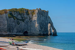 Limestone cliffs of Etretat Stock Photos