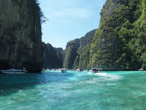 Limestone cliffs at the Koh Phi Phi Ley island, Thailand stock photos