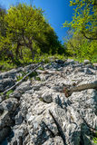 Limestone cliffs on mountain Stock Photos