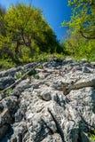 Limestone cliffs on mountain Stock Photos