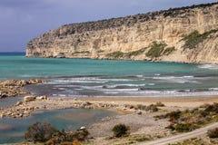 Limestone cliffs of the peninsula Akrotiri, Cyprus Stock Photos
