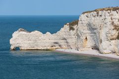 Cliffs with people near Etretat in Normandie, France Stock Image