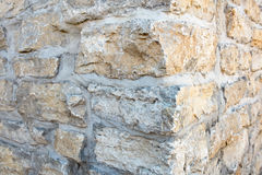 Limestone Corner. Close up of old limestone & mortar of building corner Royalty Free Stock Image