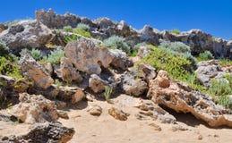 Limestone Covered Dunes:Point Peron, Western Australia Stock Photos