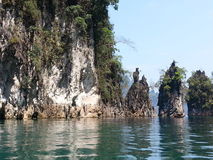Limestone emerge from the water Towering high eye Stock Photos