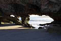 A limestone feature on the beach. Stock Photos