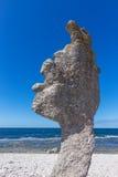 Limestone formation on Fårö island in Sweden. Limestone formation (rauk) on Fårö island in Gotland, Sweden. Baltic Sea coastline Stock Images