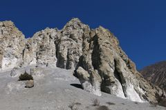 Limestone formation near Manang Stock Images
