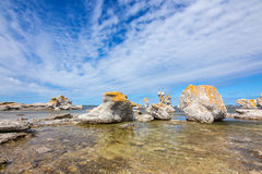 Limestone formations in Gotland, Sweden Royalty Free Stock Image