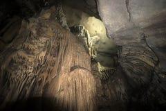 Limestone formations in karst cave at Cat Ba island, Vietnam, stalactites and stalagmites inside the cave. Limestone formations in karst cave at Cat Ba island stock image