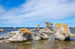 Limestone formations on the Swedish coastline Royalty Free Stock Photos