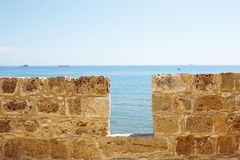 Limestone fort wall close-up. Royalty Free Stock Photography