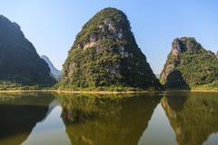 Limestone hills at the Li river Royalty Free Stock Photos