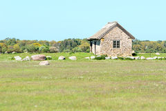 Limestone house Stock Image