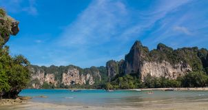 Limestone island bay in Krabi Ao Nang and Phi Phi, Thailand stock photos