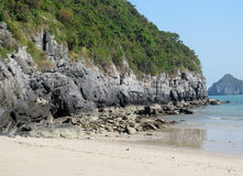 Limestone island beach in the sea bay royalty free stock image