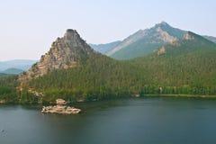Limestone island on the Borovoe lake Royalty Free Stock Image