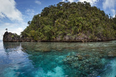 Limestone island in the lagoon,Raja ampat,Indonesi Royalty Free Stock Image