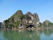 Limestone island rock in the sea bay stock image