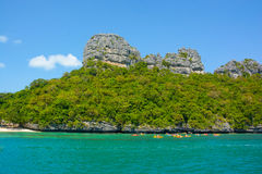 Limestone island , tourists kayaking activity at Angthong Marine National Park of Thailand Stock Photo